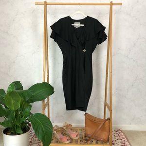 Vintage 90s Black Ruffle Wrap Sheath Dress